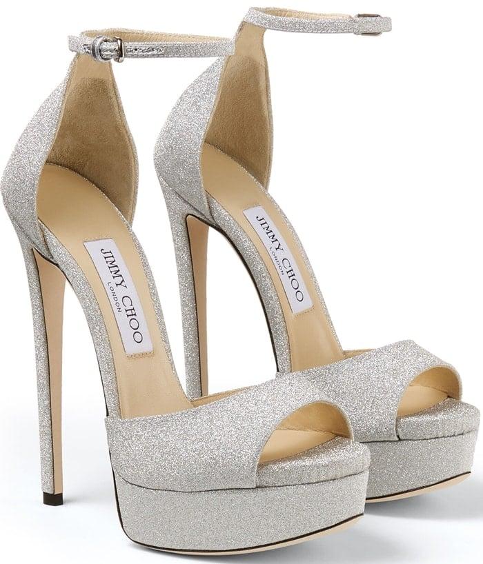 MAX 150 Metallic Silver Glitter Fabric Platform Stiletto Sandals