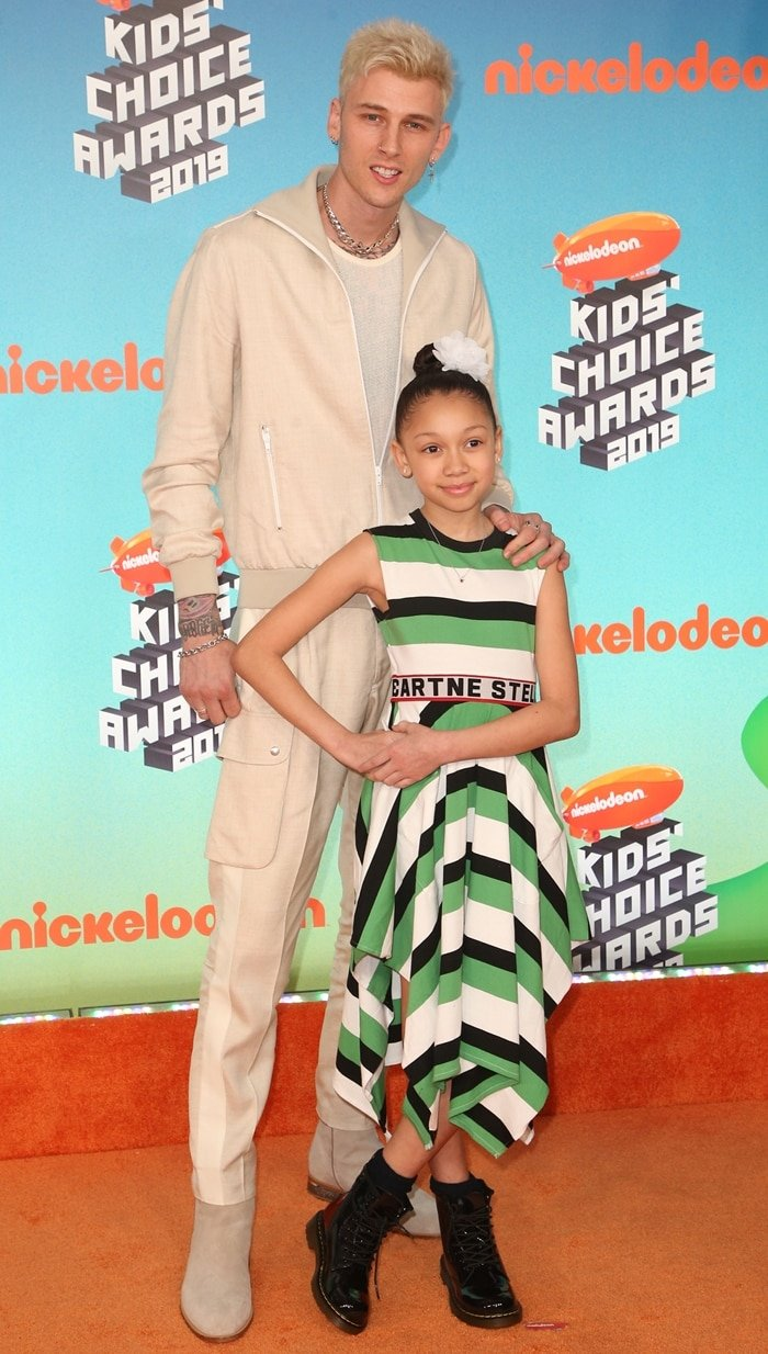 Machine Gun Kelly and his daughter Casie Colson Baker attend Nickelodeon's 2019 Kids' Choice Awards