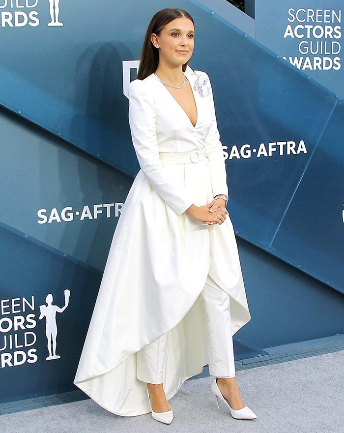Millie Bobby Brown attends the 26th Annual Screen Actors Guild Awards at the Shrine Auditorium in Los Angeles on January 19, 2020