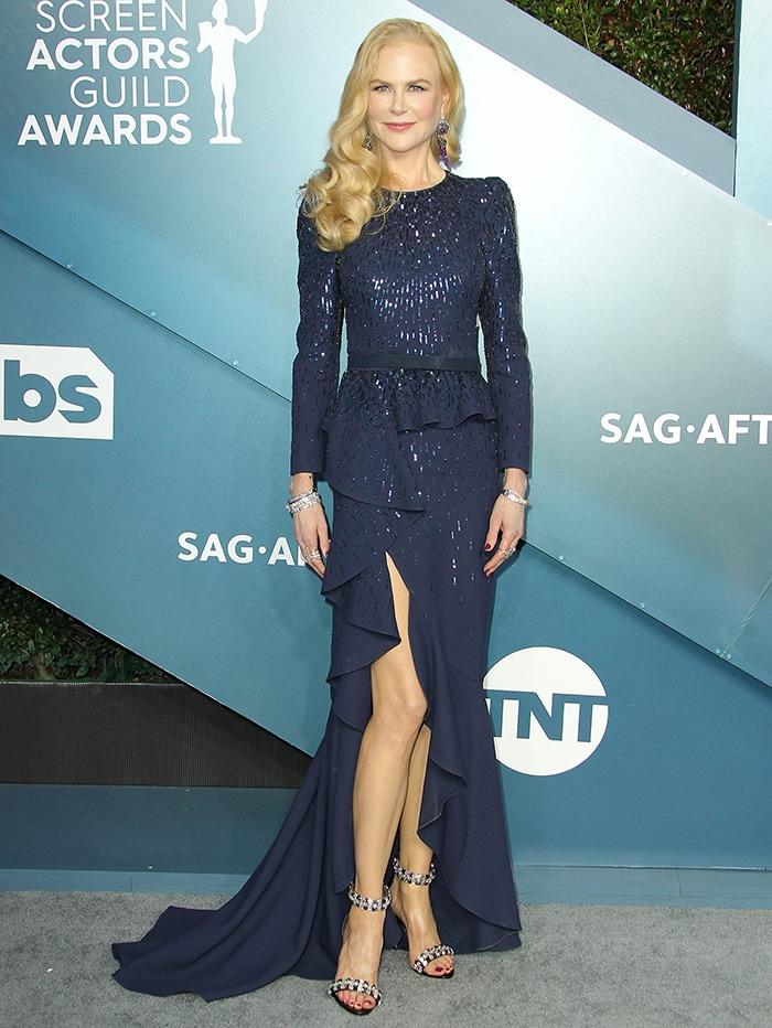 Nicole Kidman slips her slender curves into Michael Kors sequin-embellished gown