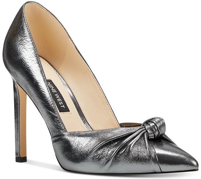 "A slender 3.94"" stiletto heel lifts the True pointy-toe pump, ready for virtually any special occasion"