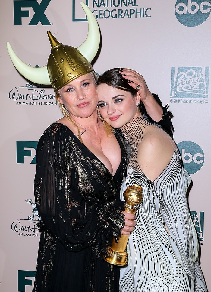 Patricia Arquette accidentally hit Joey King with her Golden Globe trophy at The Walt Disney Company 2020 Golden Globe Awards after party in Los Angeles on January 5, 2019