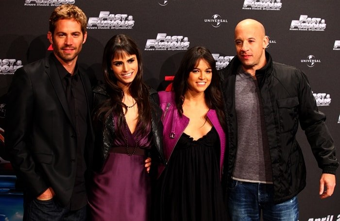 Paul Walker, Jordana Brewster, Michelle Rodriguez, and Vin Diesel arrive for the Europe premiere of Fast & Furious