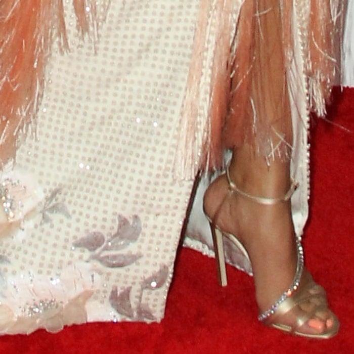 Priyanka Chopra showed off her feet in Jimmy Choo's Thaia sandals