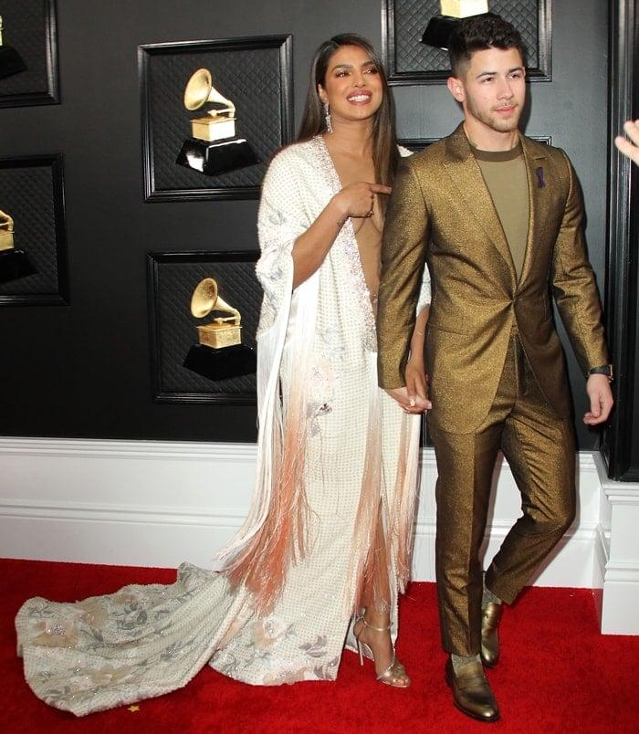 Priyanka Chopra and her husband Nick Jonas arriving at the 2020 Grammy Awards