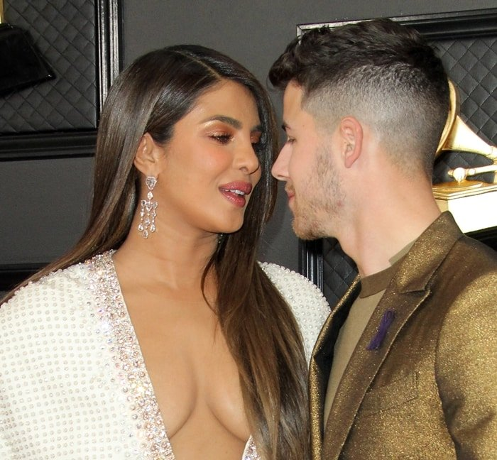 Priyanka Chopra seems interested in giving her husband Nick Jonas a kiss