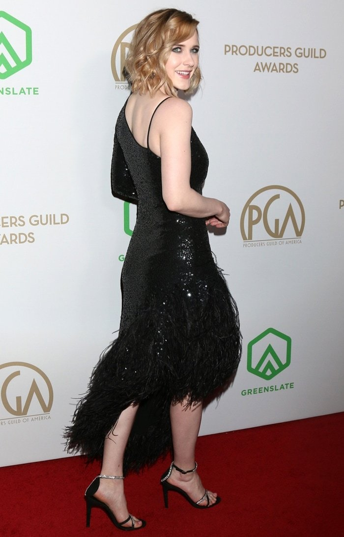 Rachel Brosnahan flashed her legs as she arrived at the 2020 Producers Guild Awards