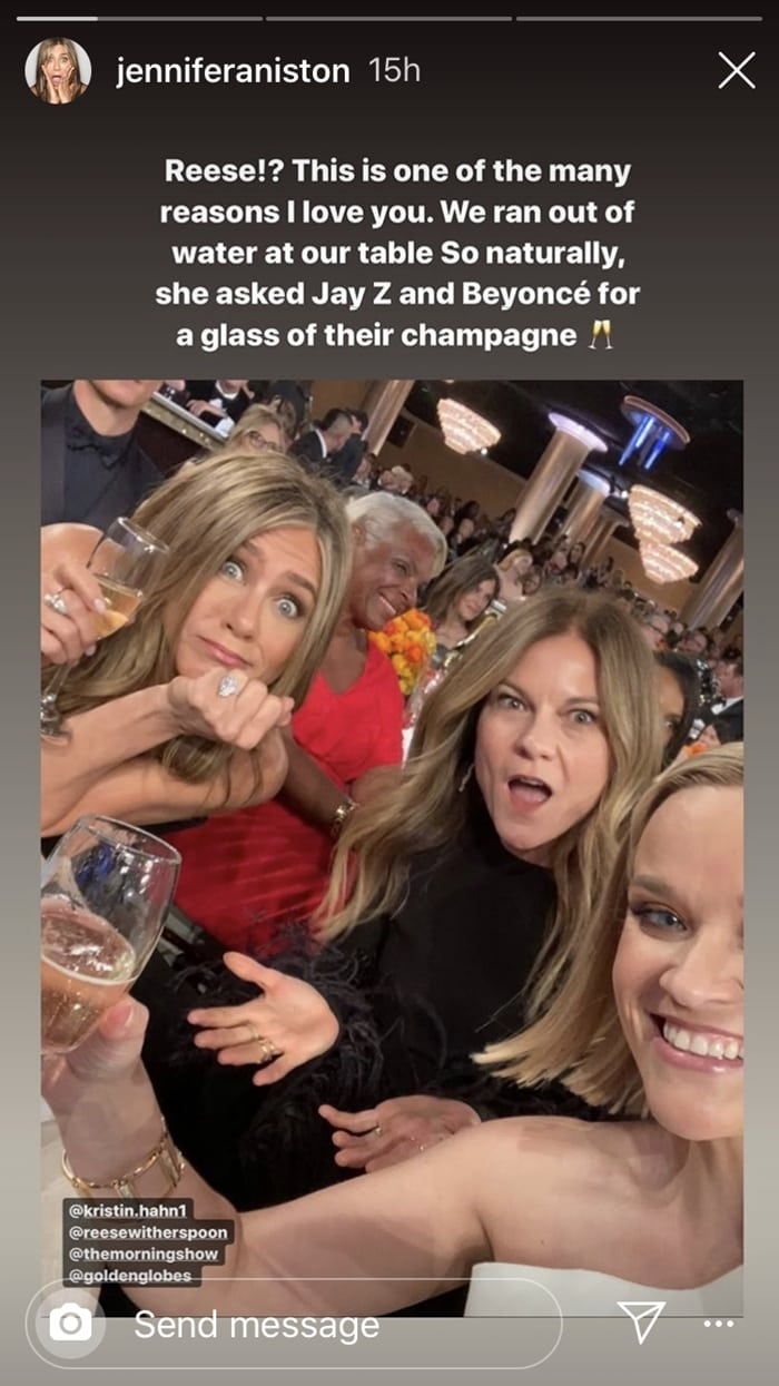 Jennifer Aniston, producer Kristin Hahn, and Reese Witherspoon received Armand de Brignac champagne from Jay Z and Beyonce