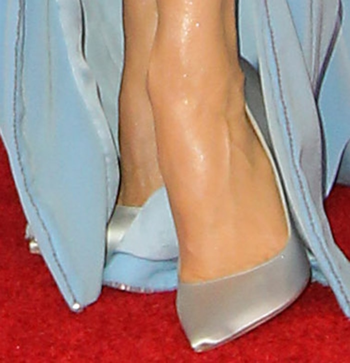 Renee Zellweger pairs her gown with gray satin Jimmy Choo pumps