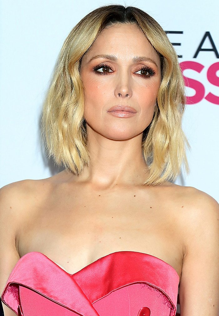 Rose Byrne wears minimal makeup with glittery eyeshadow and wavy hairstyle