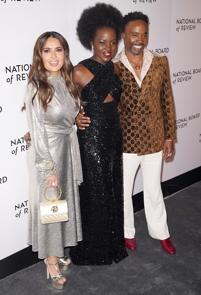 Salma Hayek, Lupita Nyong'o, and Billy Porter at the 2020 National Board Of Review Gala