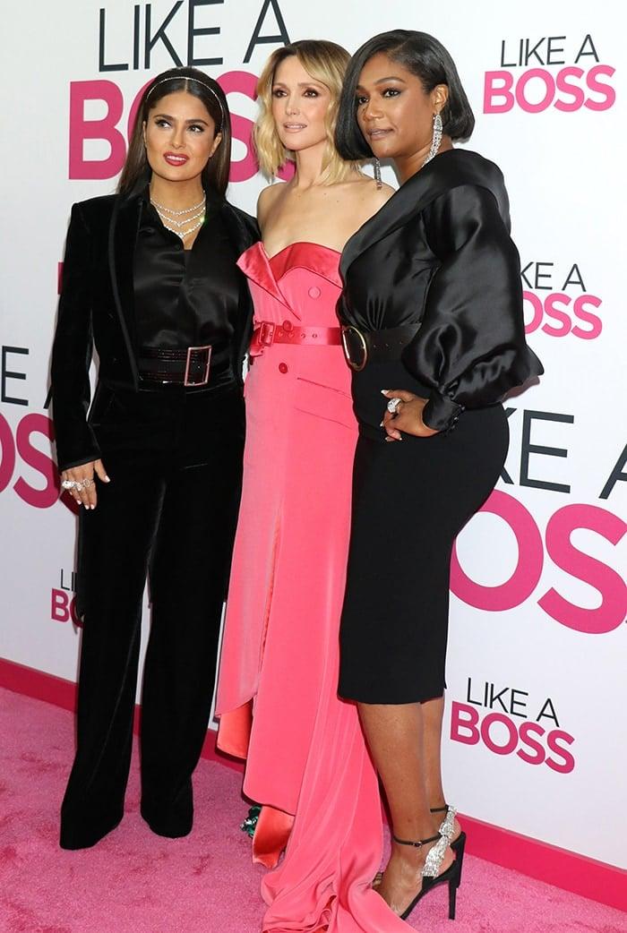 Salma Hayek, Rose Byrne, and Tiffany Haddish at the Like a Boss New York premiere on January 7, 2020