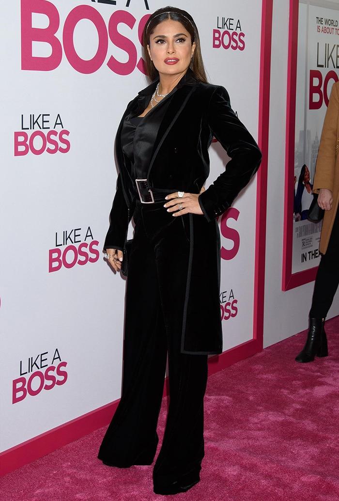 Salma Hayek attends Like a Boss world premiere at SVA Theater in New York City on January 7, 2020