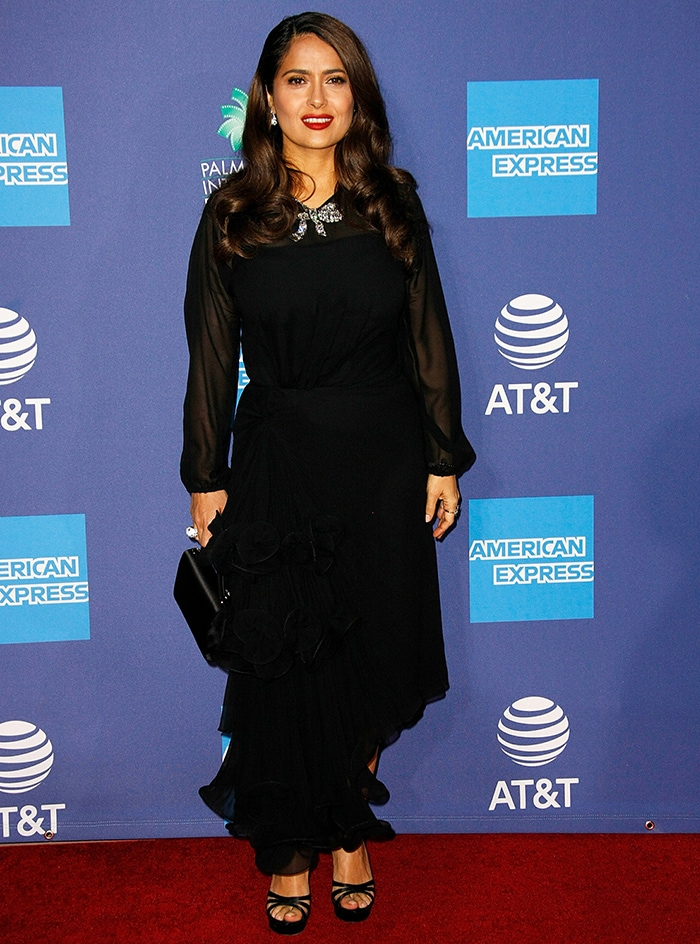 Salma Hayek opts for a black dress from her go-to label Gucci