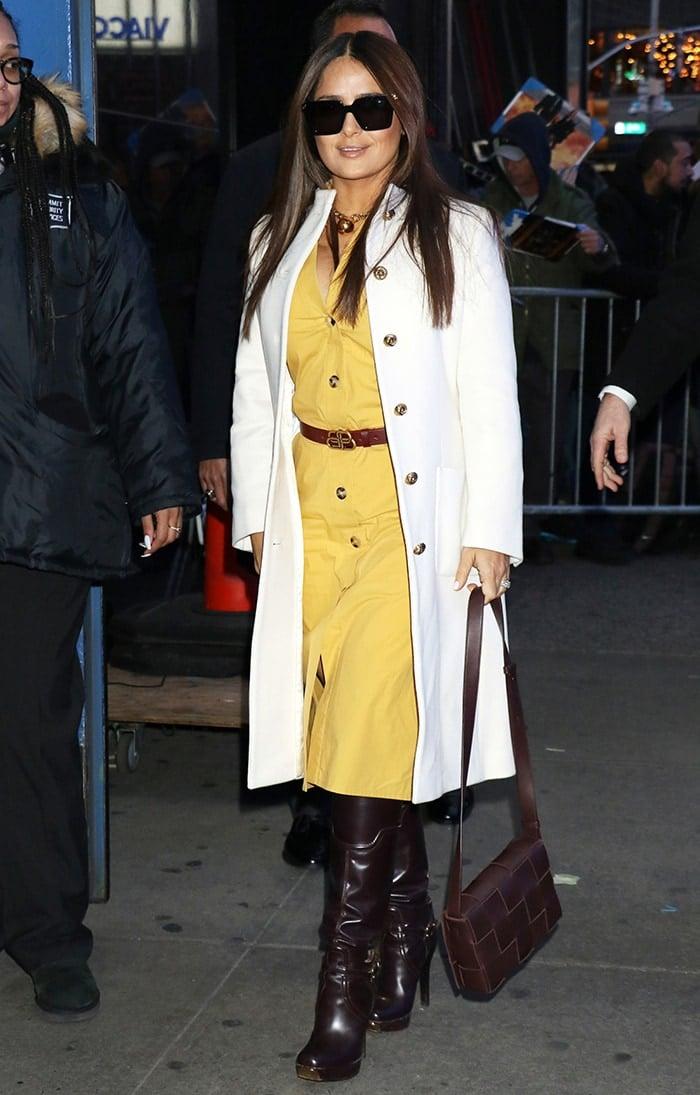 Salma Hayek heads inside Good Morning America studio to promote her upcoming movie Like a Boss on January 7, 2020