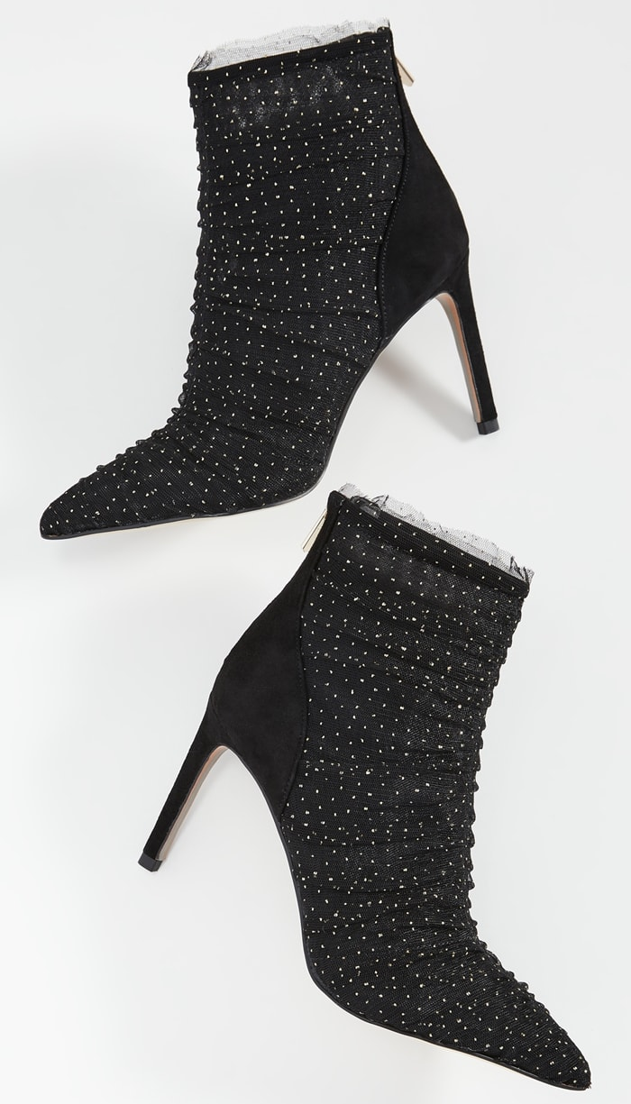 A ruffled, metallic tulle upper makes the Sam Edelman Farren booties an exciting finish to your look of the night