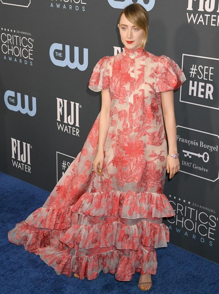 Saoirse Ronan's Erdem Spring 2020 'Aurelio' floral print tiered dress