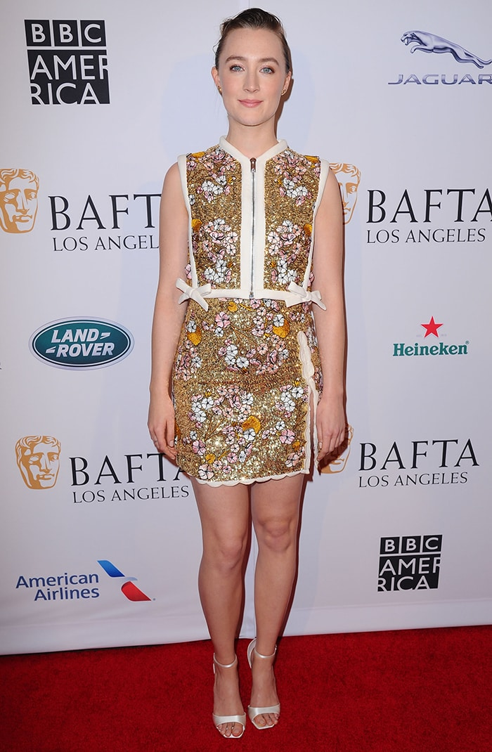 Saoirse Ronan in Giambattista Valli outfit at the BAFTA Tea Party in Los Angeles on January 4, 2020