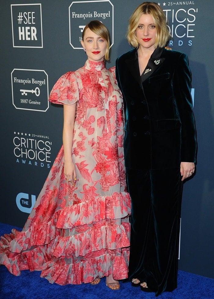Saoirse Ronan and Greta Gerwig at the 2020 Critics' Choice Awards