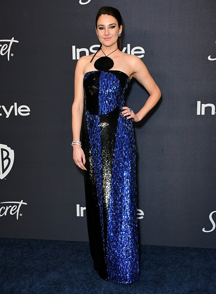 Shailene Woodley in a custom blue and black sequin-embellished Balmain gown