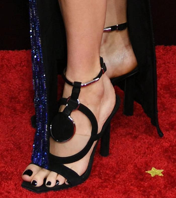 Shailene Woodley shows off her feet in geometric Balmain sandals