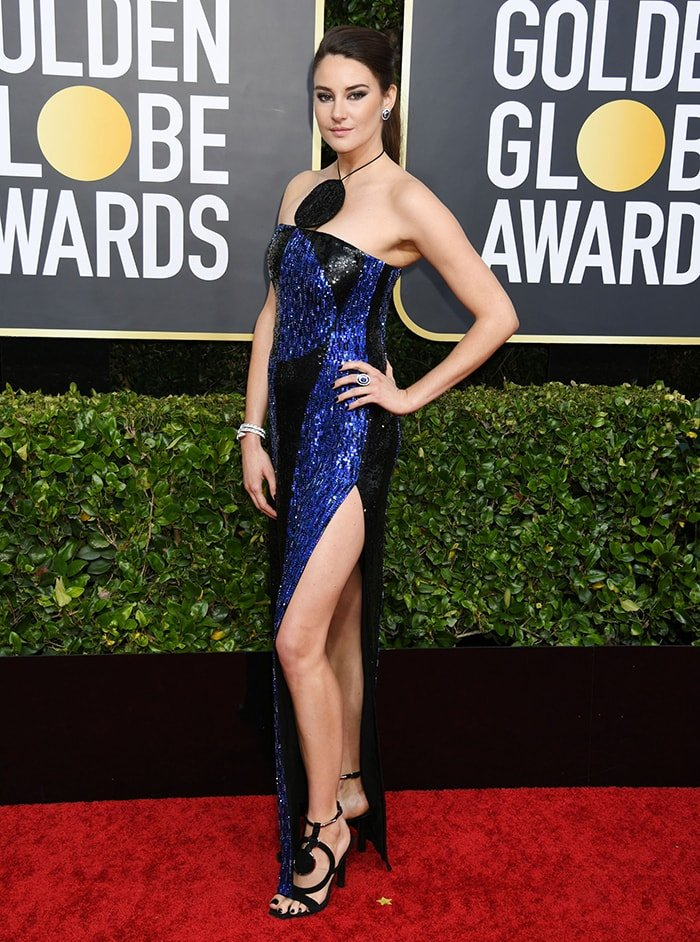 Shailene Woodley serves up serious leg at the 77th Golden Globe Awards in Los Angeles on January 5, 2020