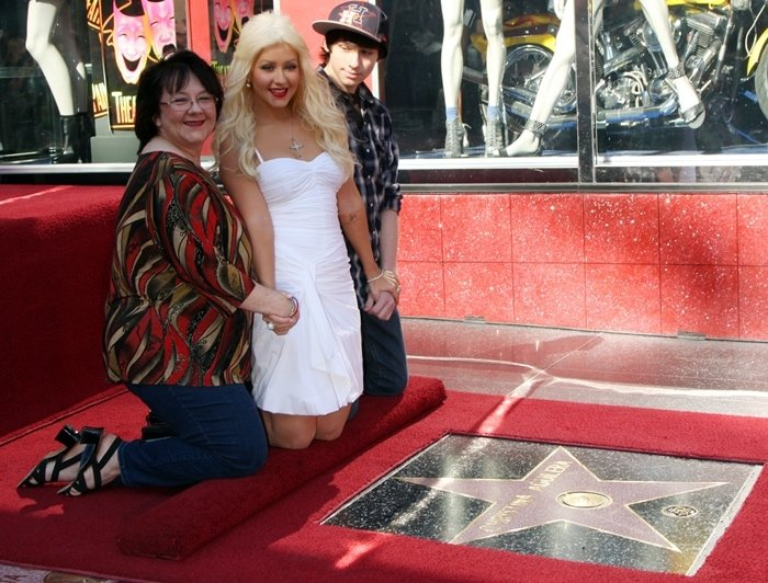 Christina Aguilera with her mom, Shelly Loraine Kearns, and brother Michael Kearns