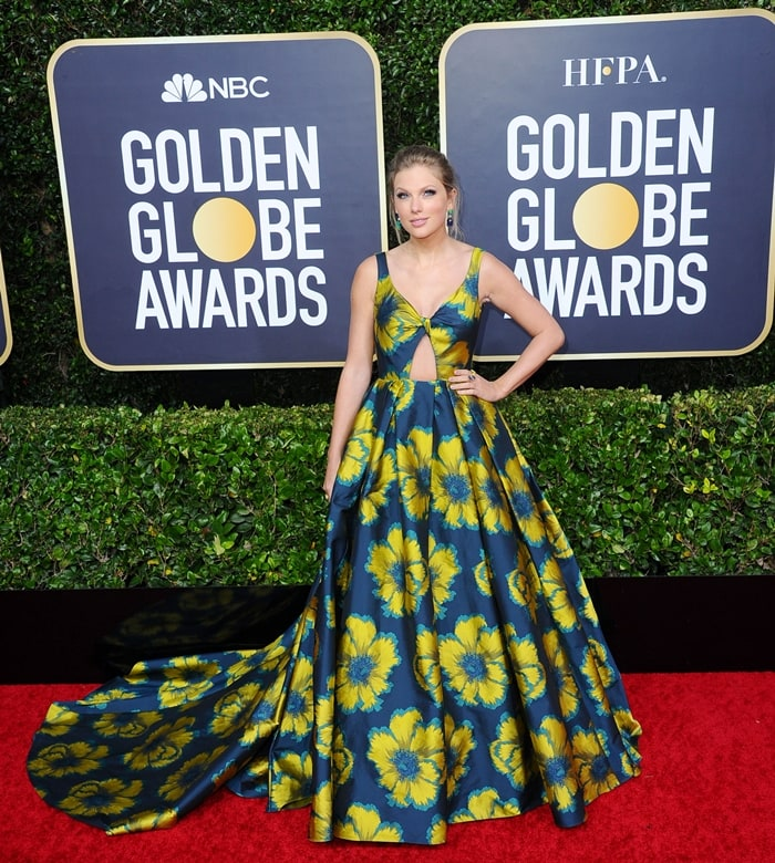 Taylor Swift rocked a floral dress on the red carpet at the 2020 Golden Globe Awards