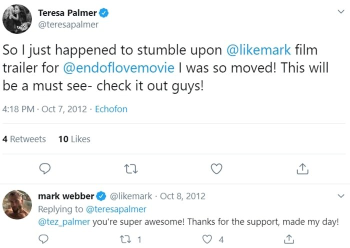 The tweets that started Teresa Palmer and Mark Webber's relationship