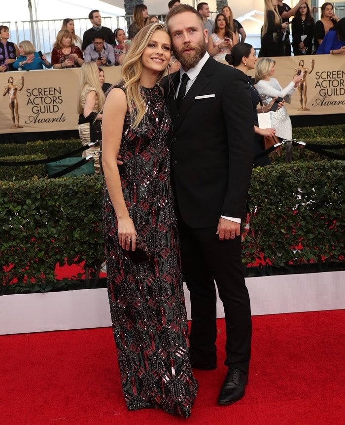 Teresa Palmer with her husband Mark Webber at the 23rd Annual Screen Actors Guild Awards