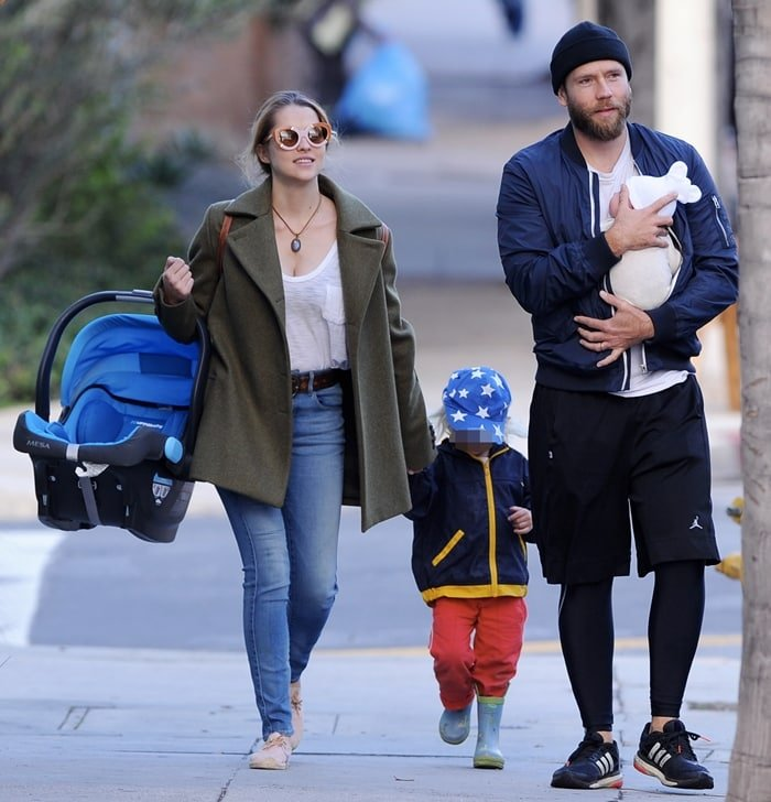 Teresa Palmer leaves Cafe Gratitude at Larchmont Village with husband Mark Webber and their two kids Bodhi and newborn son Forest
