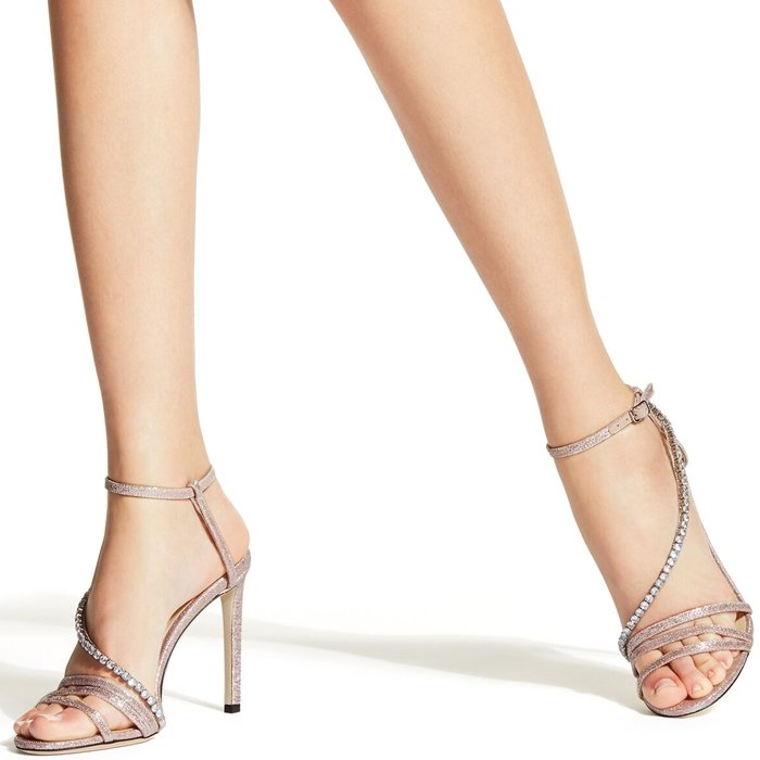 The THAIA sandal is crafted in Italy from ballet pink gio metallic fabric