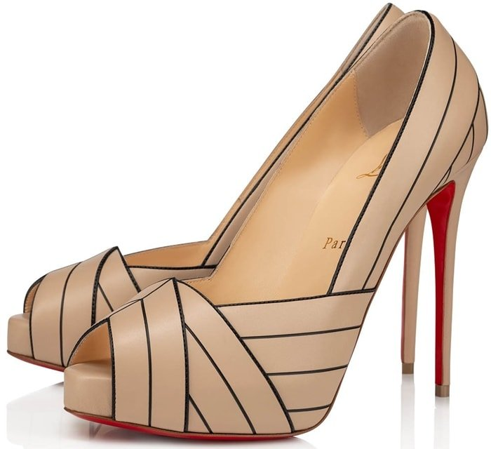 Nude Undessin Art Deco Red Sole Peep-Toe Pumps