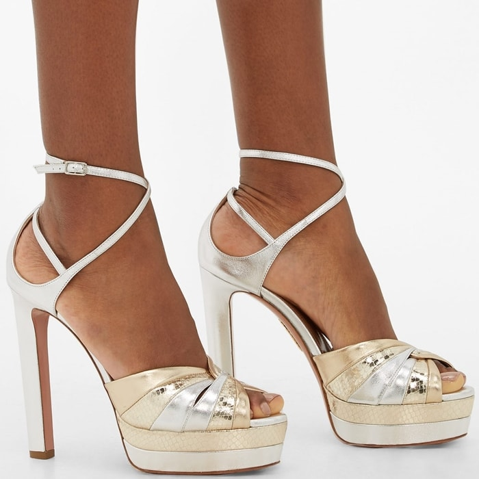 Aquazzura's La Di Da platform sandals are the perfect base for party outfits thanks to their vertiginous profile and two-tone metallic colorway