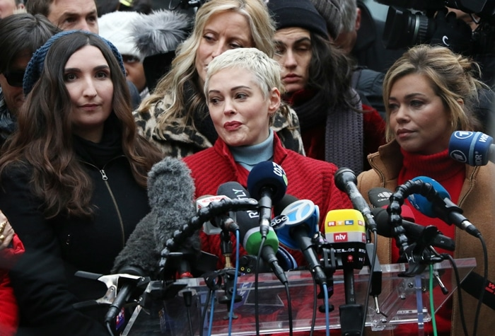 Actress Rose McGowan, who accused American film producer Harvey Weinstein of raping her and destroying her career, joins other accusers and protesters and speaks speech to the press