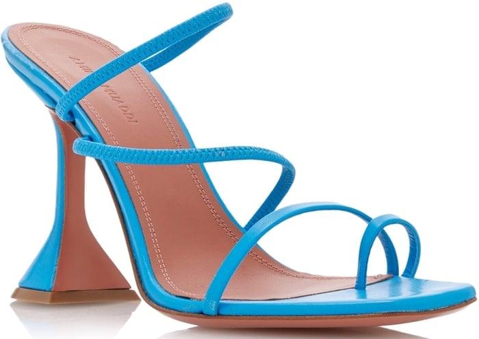Blue Amina Muaddi Naima Strappy Leather Sandals