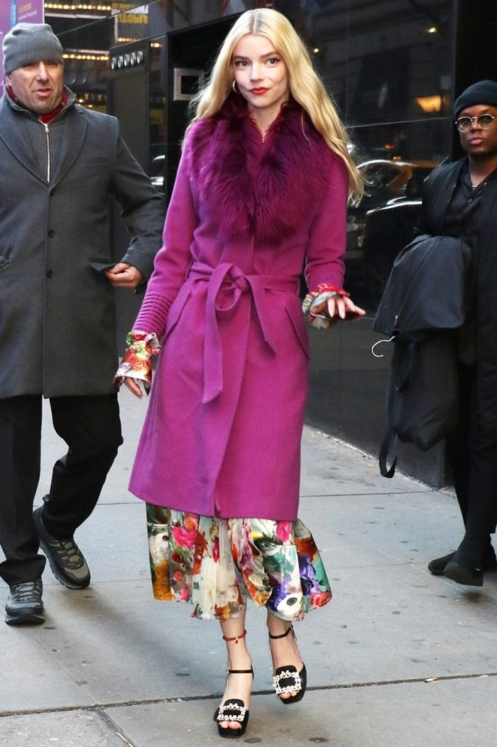 Anya Taylor-Joy outside the studios of Good Morning America in a Prabal Gurung dress and a long coat from Sentaler