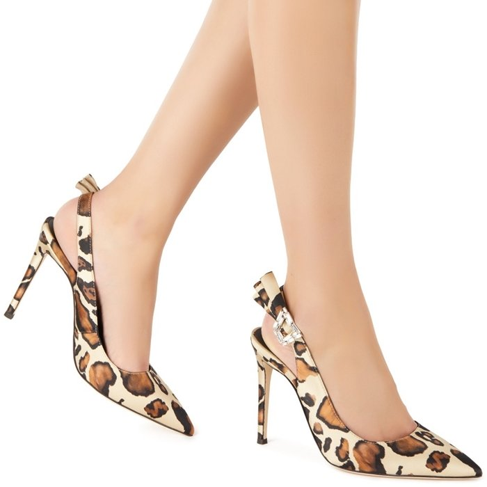 Ecru, camel brown and black leather bejewelled buckle leopard pumps from Giuseppe Zanotti