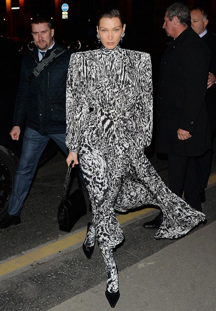 Bella Hadid opts for '80s Balenciaga shoulder-padded dress