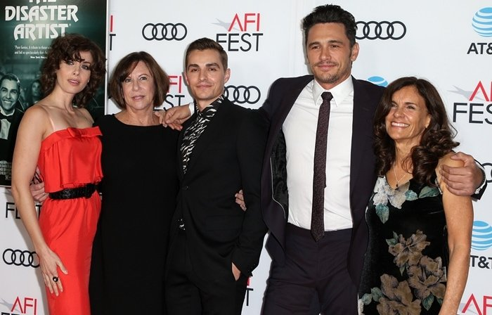Alison Brie with her mother Joanne, her husband Dave Franco, his brother James Franco, and the mother of James and Dave, Betsy Franco-Feeney, at the AFI FEST 2017