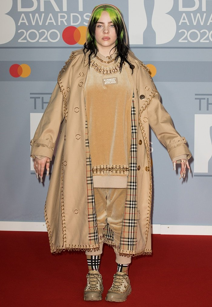 Billie Eilish in head-to-toe Burberry at the 2020 BRIT Awards held at The O2 Arena in London on February 18, 2020