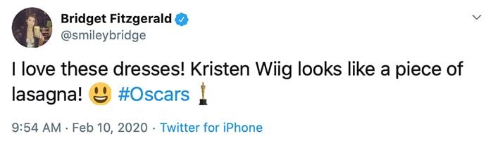 I love these dresses! Kristen Wiig looks like a piece of lasagna!