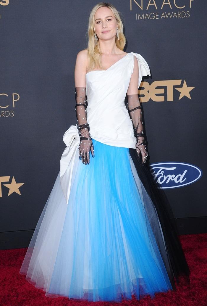 Brie Larson's Rodarte silk and tri-toned tulle gown