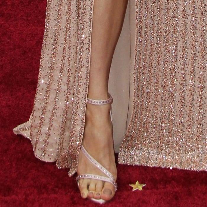 Brie Larson showed off her feet in Celine sandals