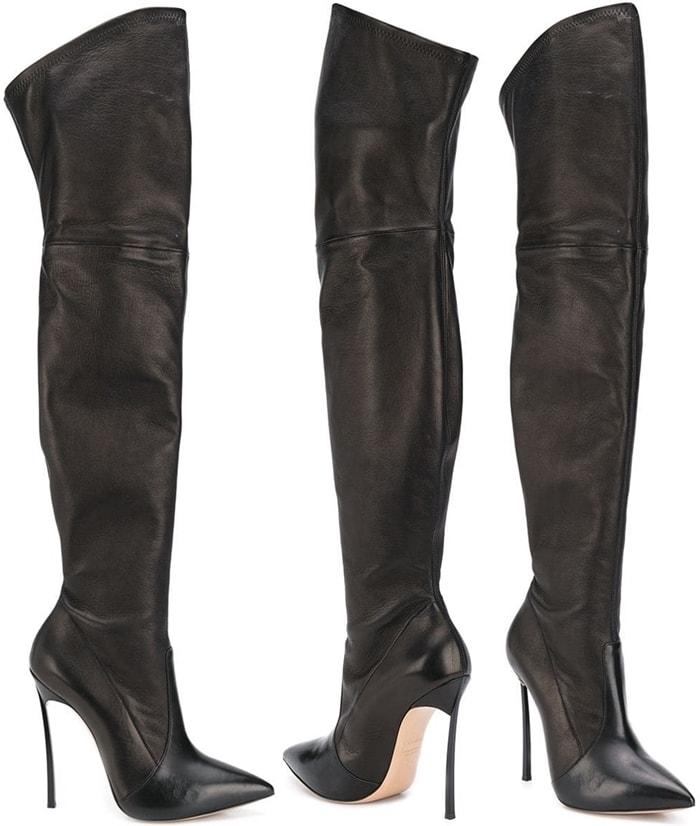 Black leather blade thigh-high boots from Casadei featuring a pointed toe, a thigh high style, stitched panels, a stretch fit and a signature stainless steel 'blade' high stiletto heel