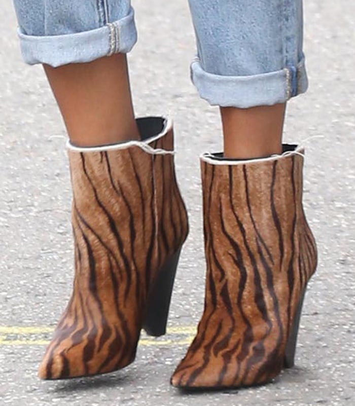 Chrissy Teigen's Niki zebra-print calf hair ankle boots