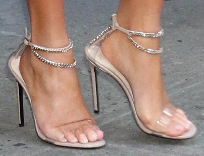 Chrissy Teigen's unique feet in Alevi Milano sandals