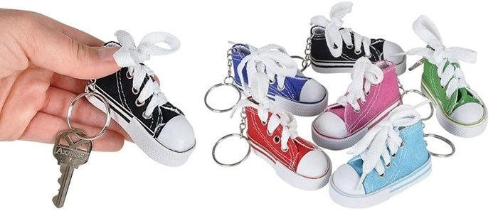 This keychain collection features high-top sneakers as the main attraction