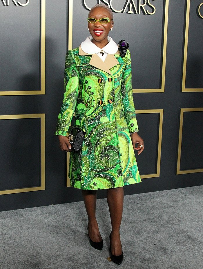 Cynthia Erivo in Louis Vuitton green coat dress at the 92nd Academy Awards Nominees Luncheon on January 27, 2020