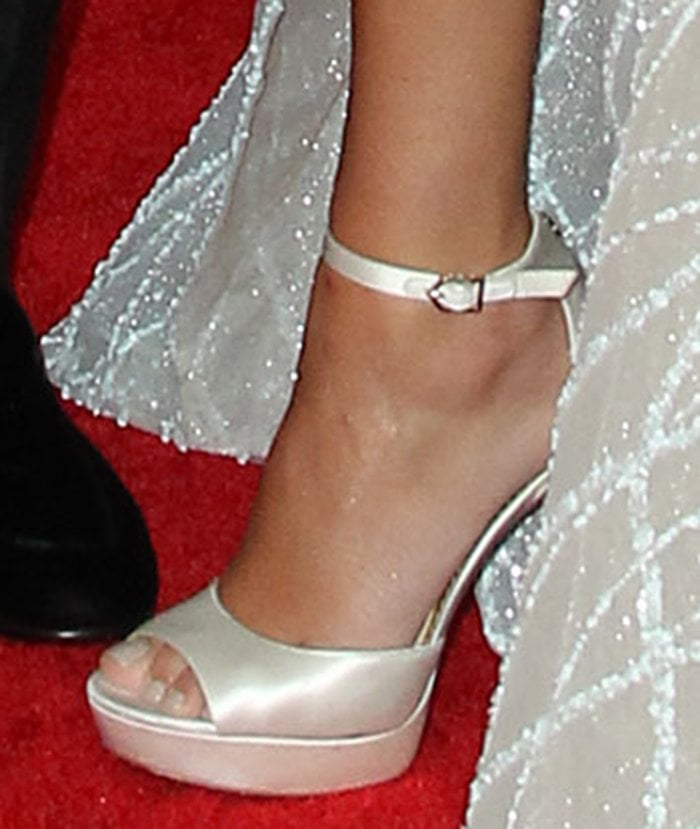 Danielle Jonas teams her icy blue gown with satin white Sam Edelman sandals